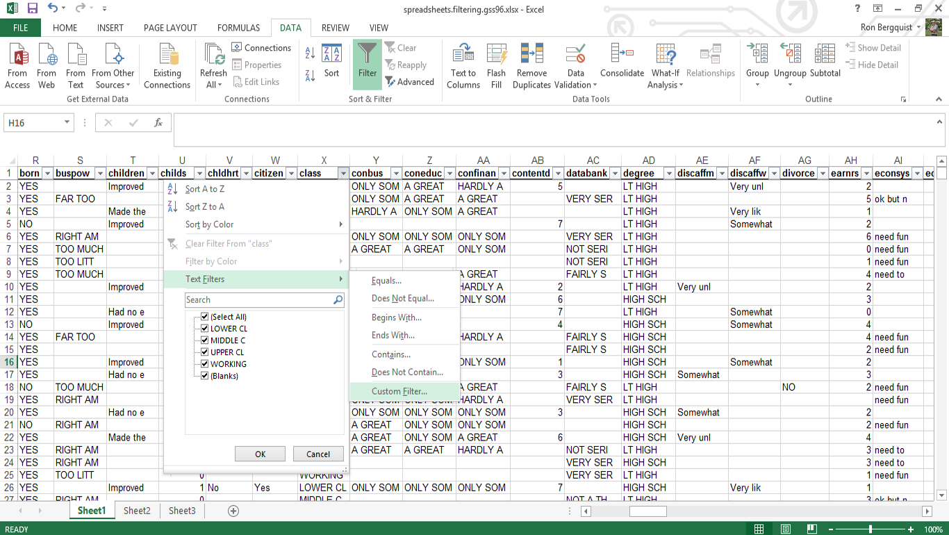 Inls161 001 fall 2014 information tools spreadsheets as databases
