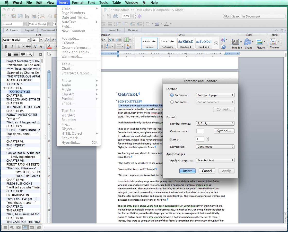 how to change footnotes to endnotes in word mac