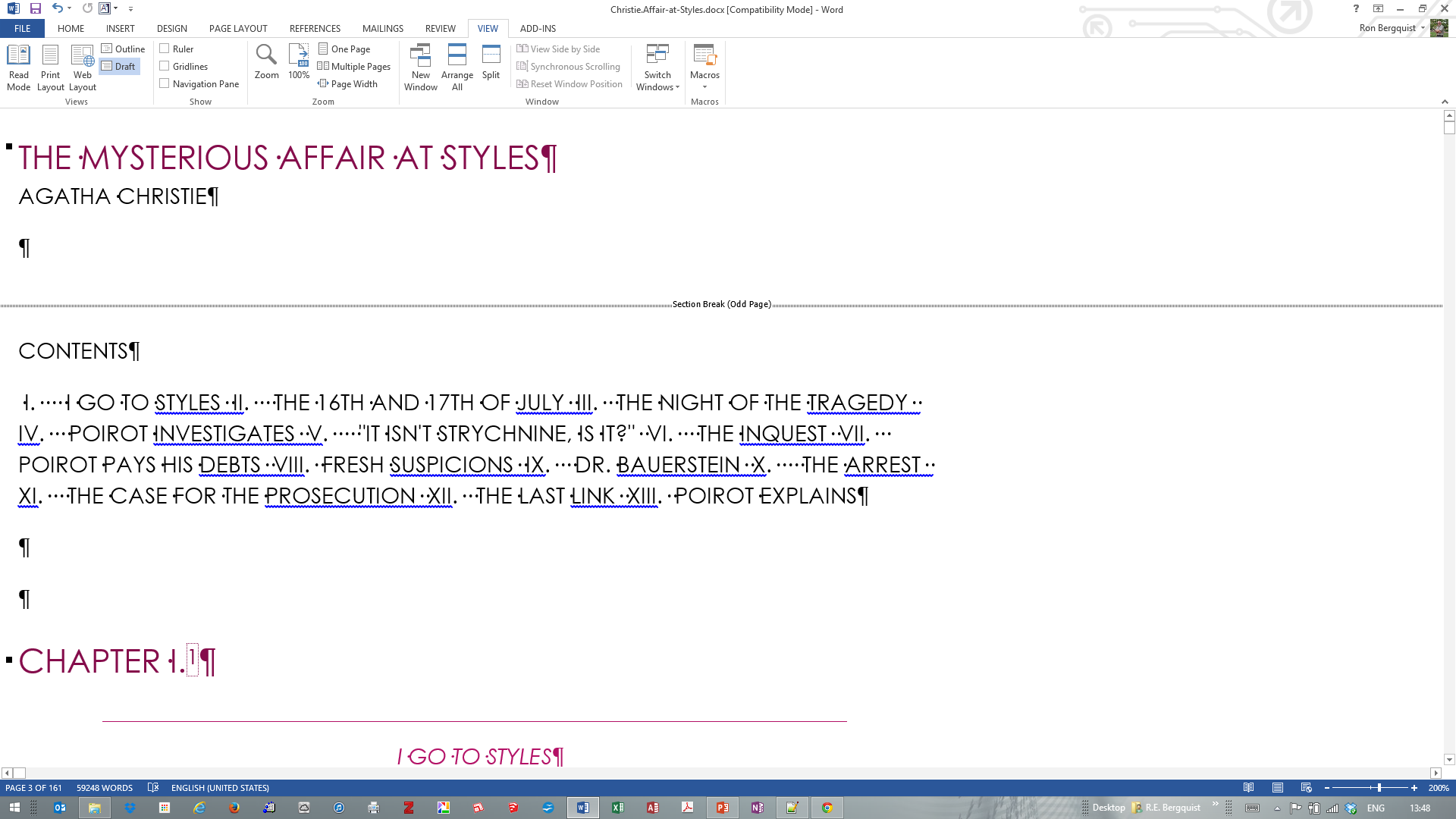 [MSWord 2013 draft view with section breaks]