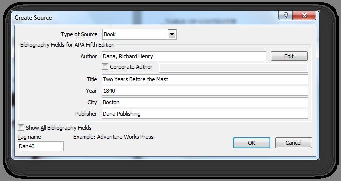 [MSWord 2010 create new source dialog box]