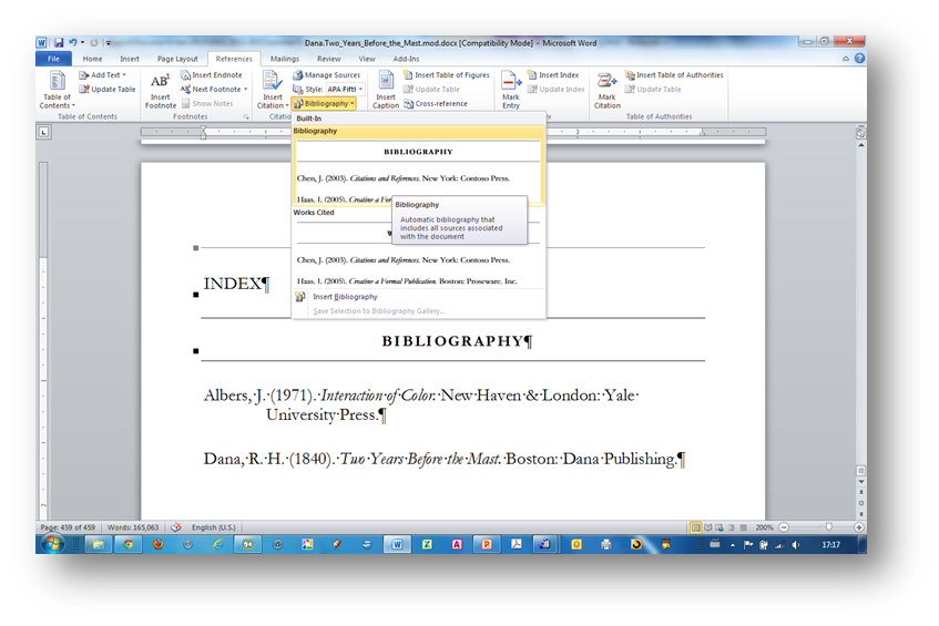 [MSWord 2010 insert bibliography dialog box]