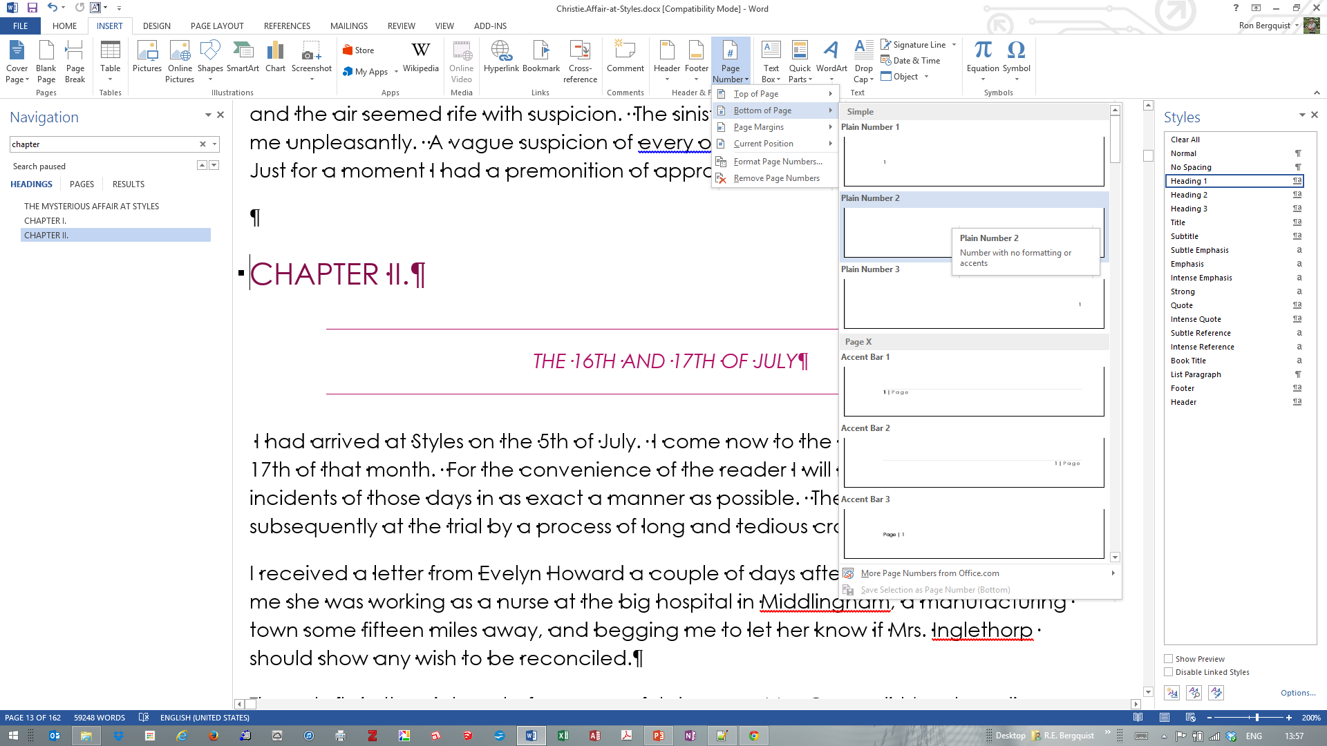 [msword 2013 Page Number Centered In Footer] To