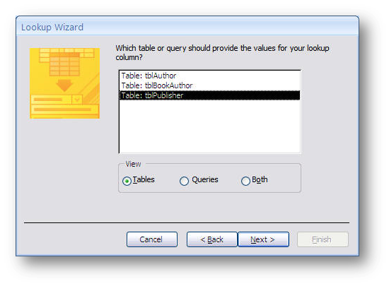 lookup wizard dialog box
