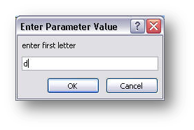parameter dialog box, first value