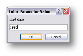 parameter dialog box, second value
