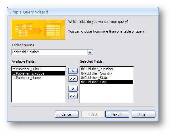 query wizard.select fields