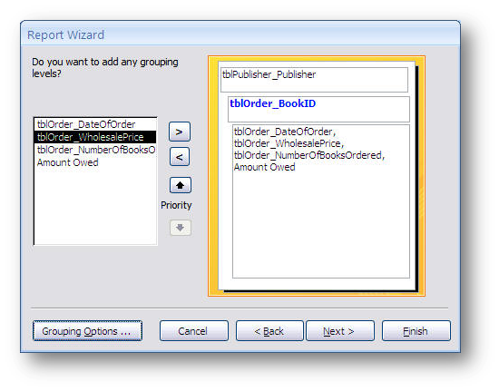 grouping in the report wizard