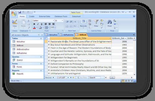 table datasheet view