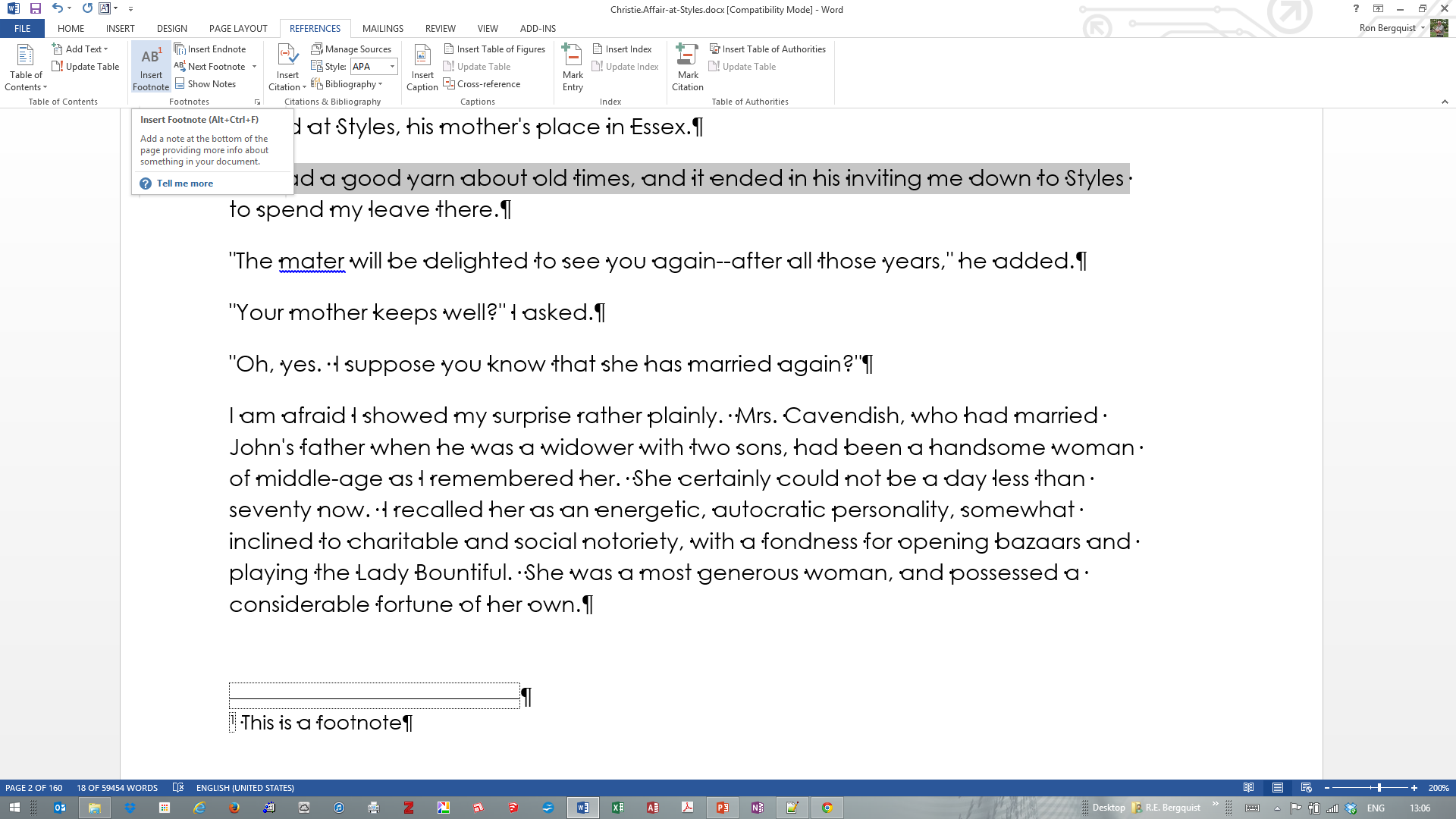 word move footnotes to end of document