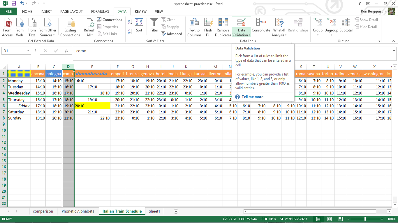worksheet How To Ungroup Worksheets In Excel inls161 002 spring 2018 information tools setting up a spreadsheet msexcel 2013 data validation