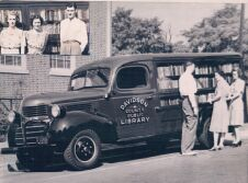 Bookmobile June 2 1941 1st day insert with Margaret Hooper, Louise Justice, and Ward Everhart (bookmobile driver)